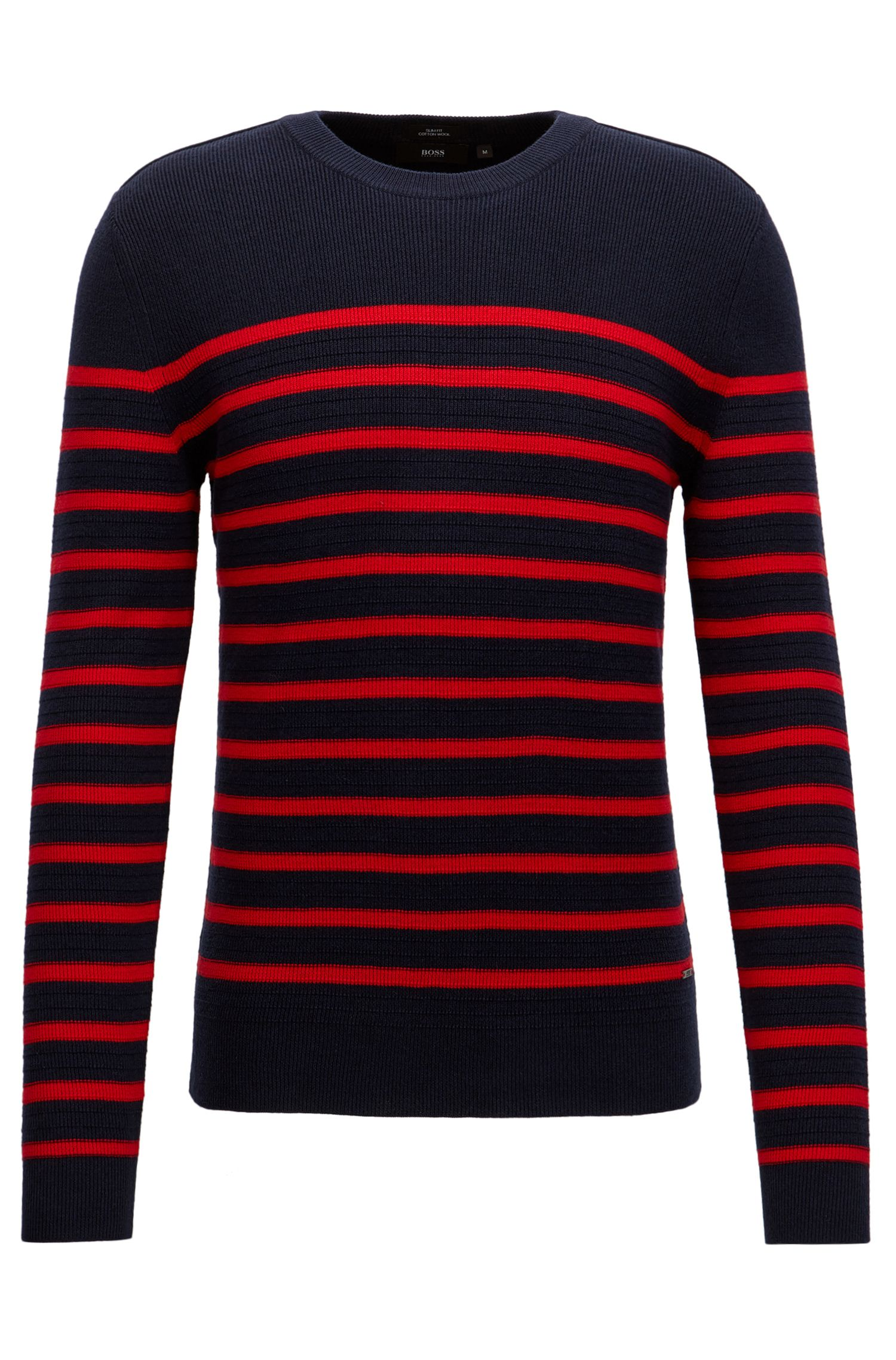 Breton stripe sweater in a structured wool-cotton blend