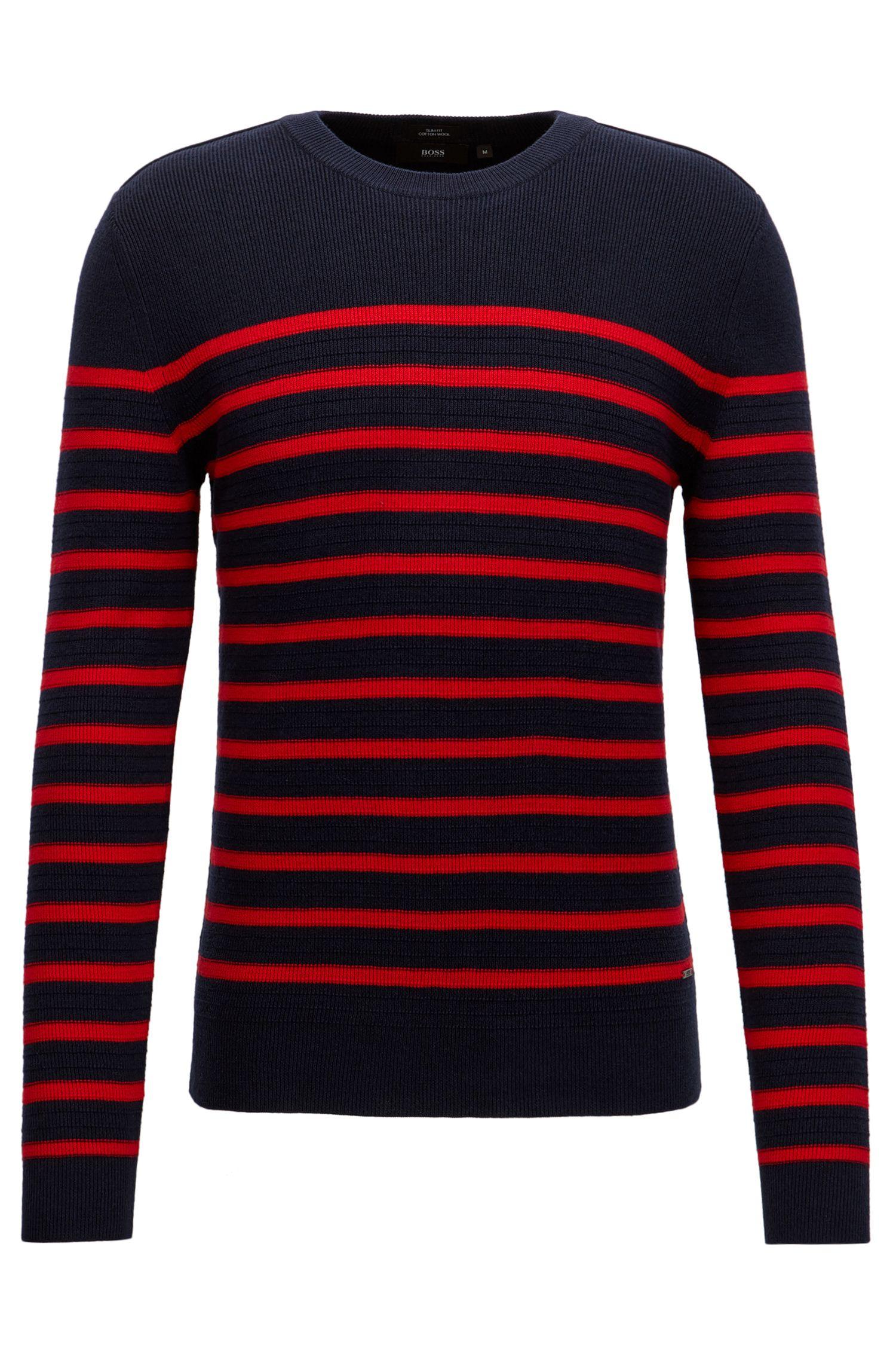 Maglione a righe in stile Breton in misto lana e cotone lavorato