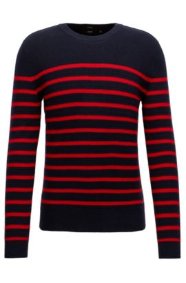Breton stripe sweater in a structured wool-cotton blend, Red
