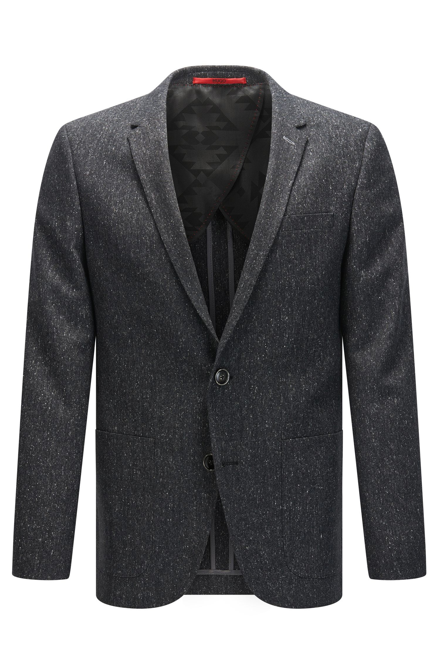 Slim-fit jacket in a flecked virgin wool blend