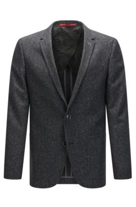 Slim-fit jacket in a flecked virgin wool blend, Anthracite