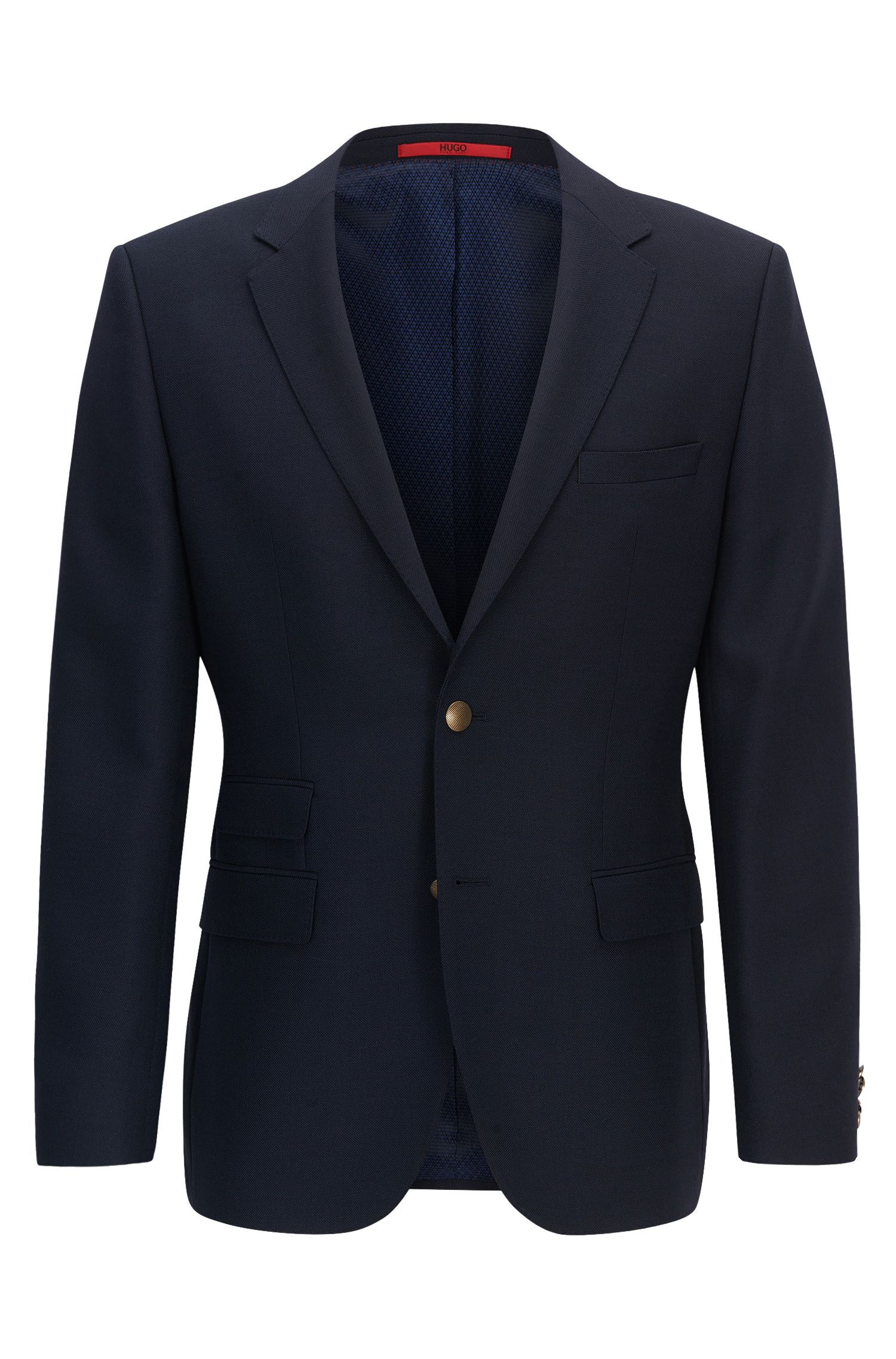 Regular-fit technical blend jacket with metal buttons