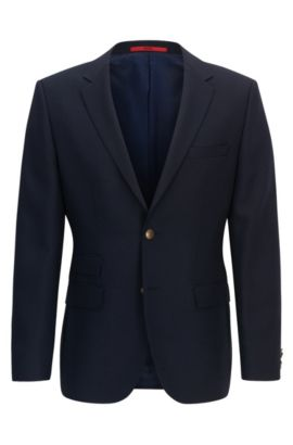 Regular-fit technical blend jacket with metal buttons, Dark Blue