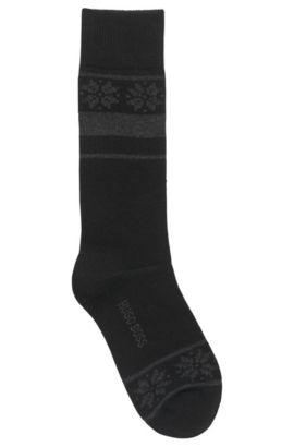 Mittelhohe Socken aus strapazierfähigem Material-Mix, Schwarz