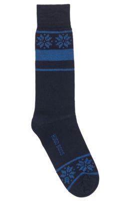 Chaussettes mi-mollet confectionnées avec des fils haute résistance, Bleu foncé