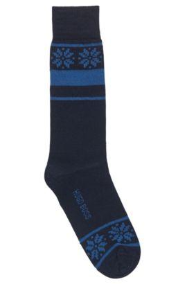 Mittelhohe Socken aus strapazierfähigem Material-Mix, Dunkelblau