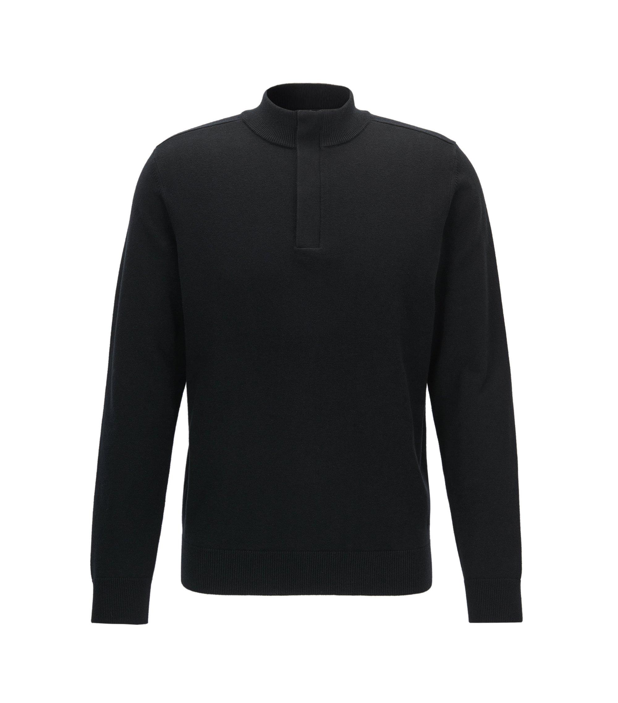 Pull en mélange de coton et de laine, avec zip invisible au col, Noir