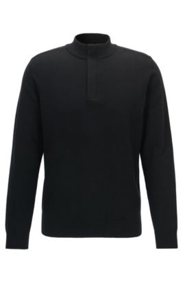 Concealed-zip neck sweater in a wool-cotton blend, Black