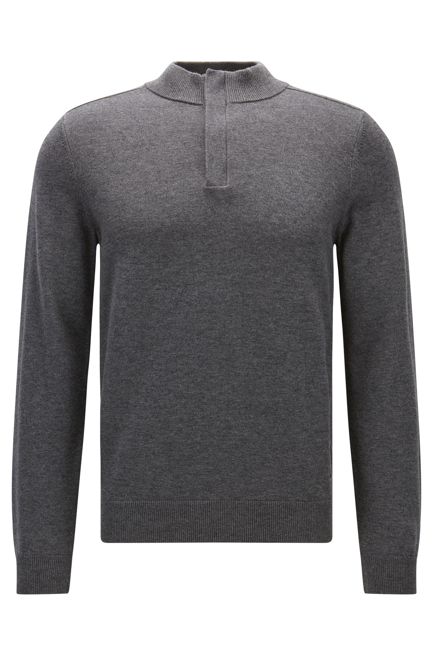 Concealed-zip neck sweater in a wool-cotton blend