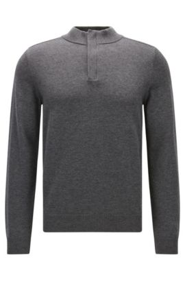 Concealed-zip neck sweater in a wool-cotton blend, Grey