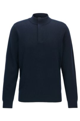 Concealed-zip neck sweater in a wool-cotton blend, Dark Blue