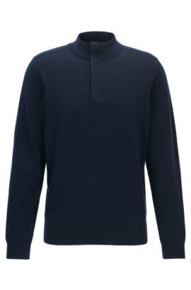 Concealed-zip neck sweater in a wool-cotton blend, Dark Blue