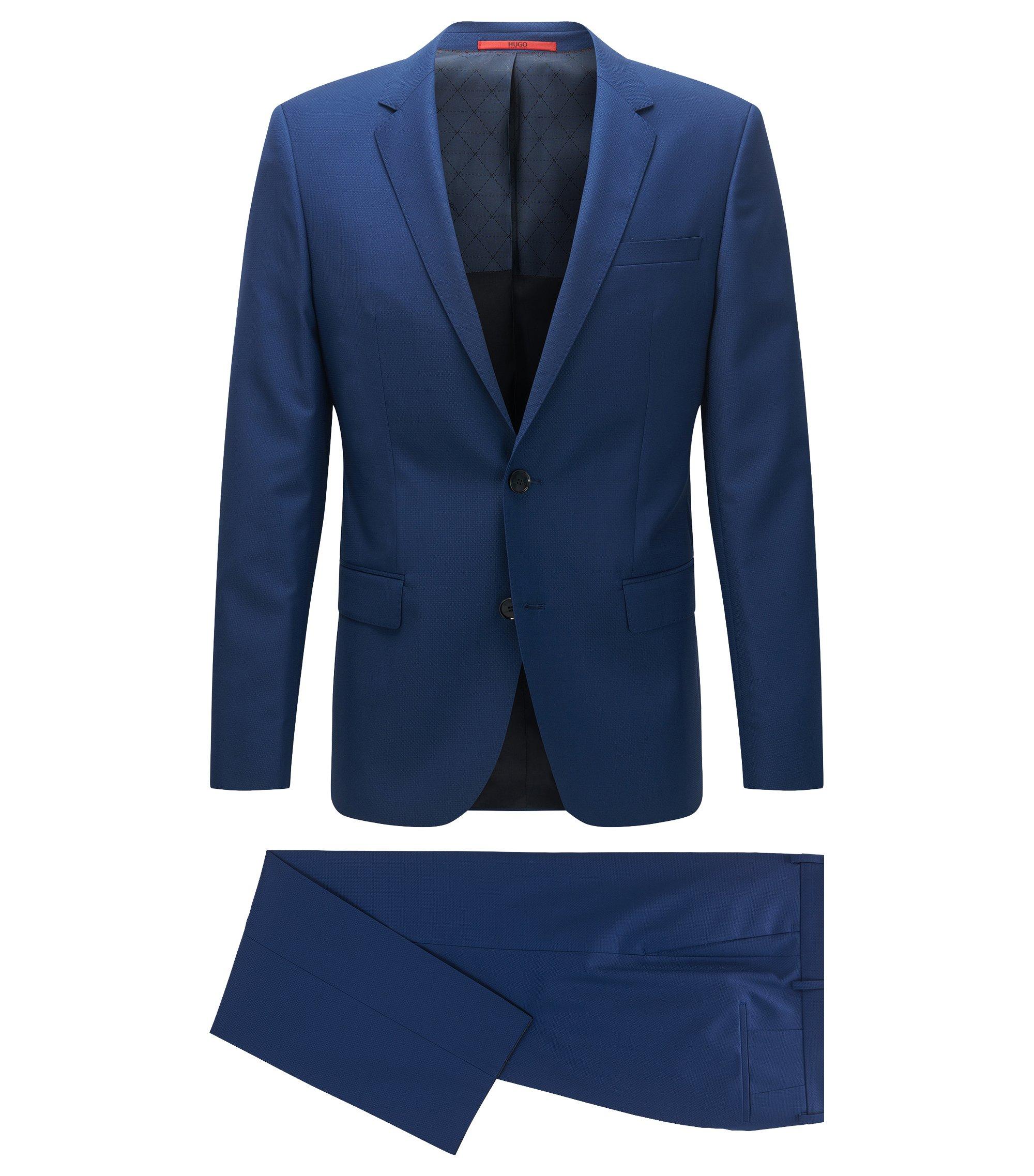 Costume Slim Fit en laine vierge mélangée texturée, Turquoise