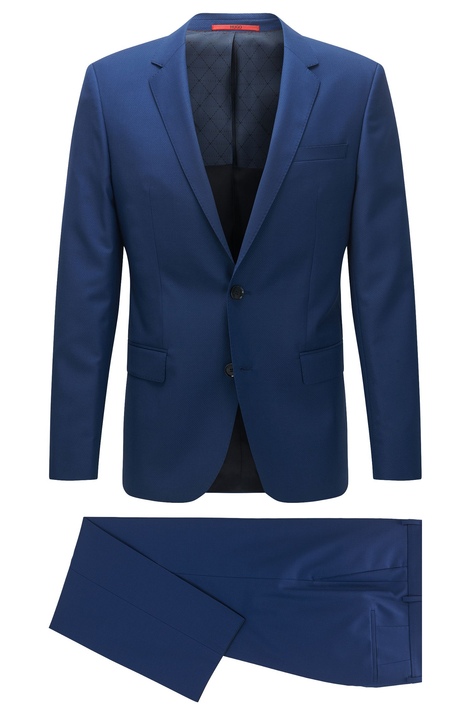 Slim-fit textured virgin-wool blend suit