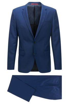 Slim-fit textured virgin-wool blend suit, Turquoise