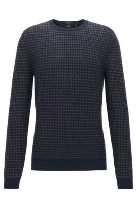 Gebreide trui met 3D-microdessin, Donkerblauw