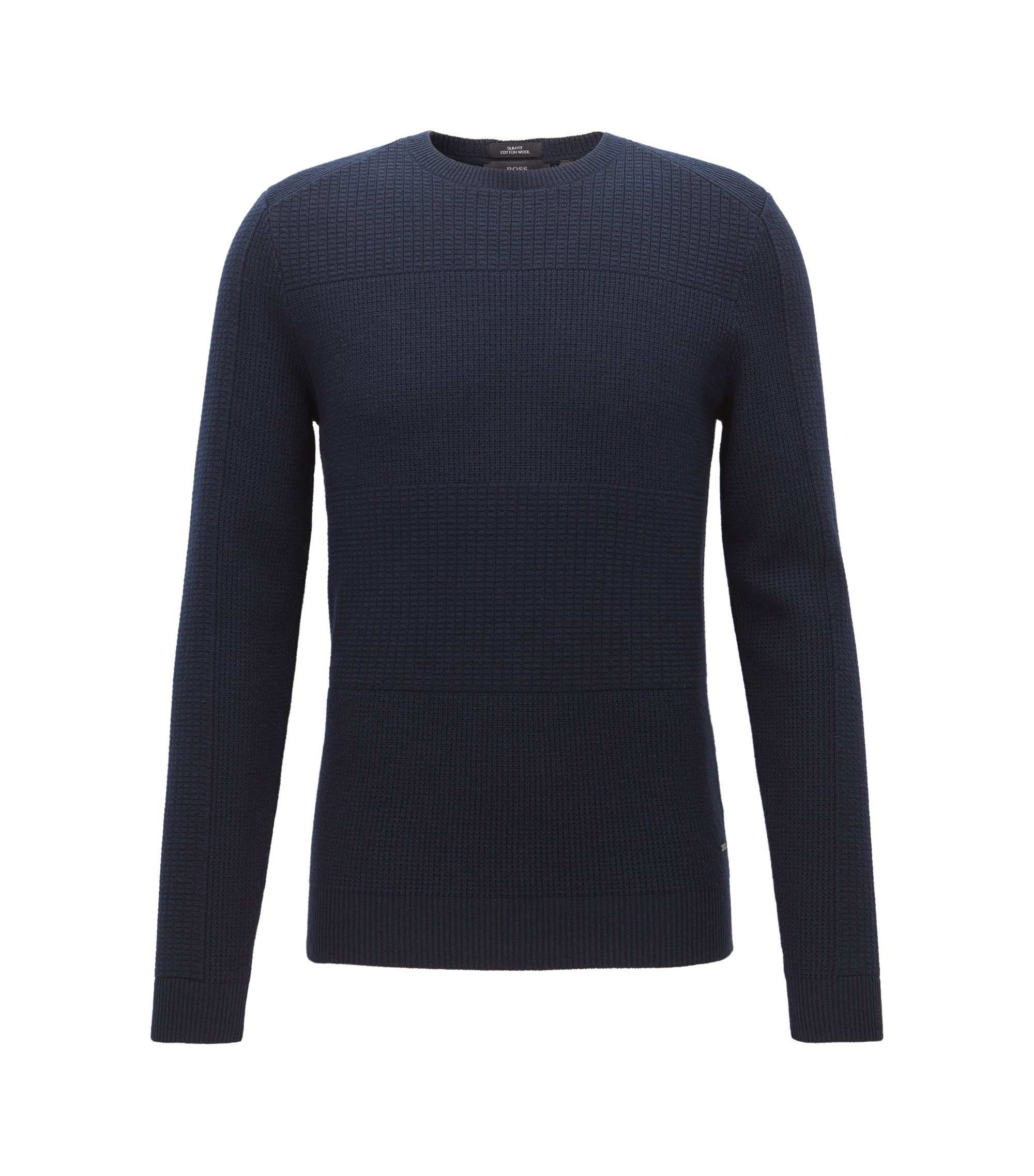 Mixed-structure sweater in a wool-cotton blend, Dark Blue