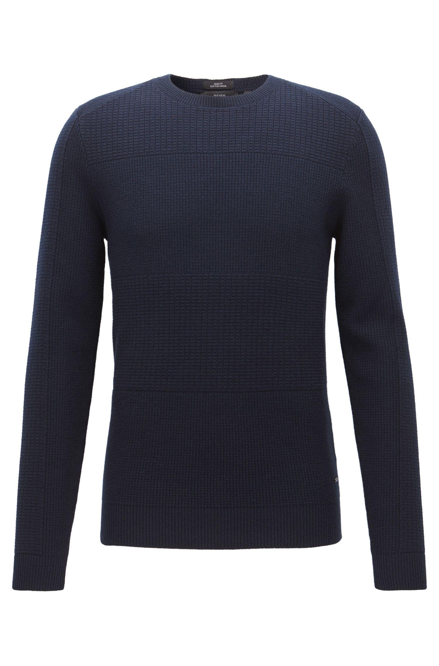 Maglione con lavorazione mista in misto cotone-lana