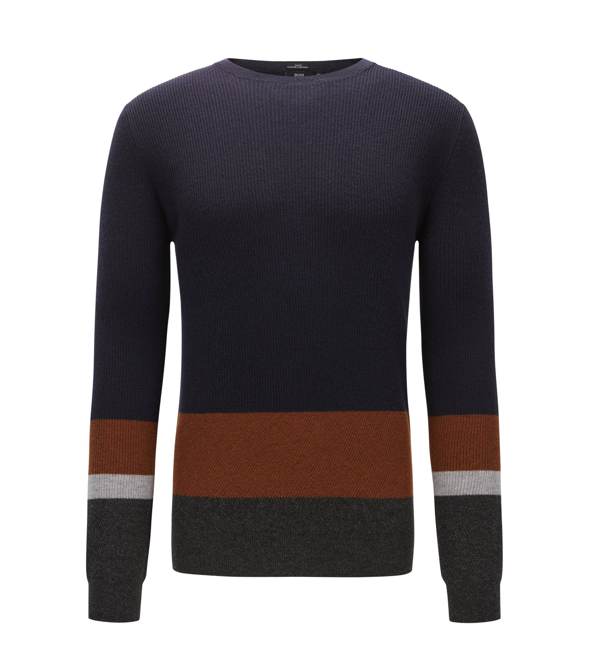 Ribbed colourblock sweater in virgin wool, Dark Blue
