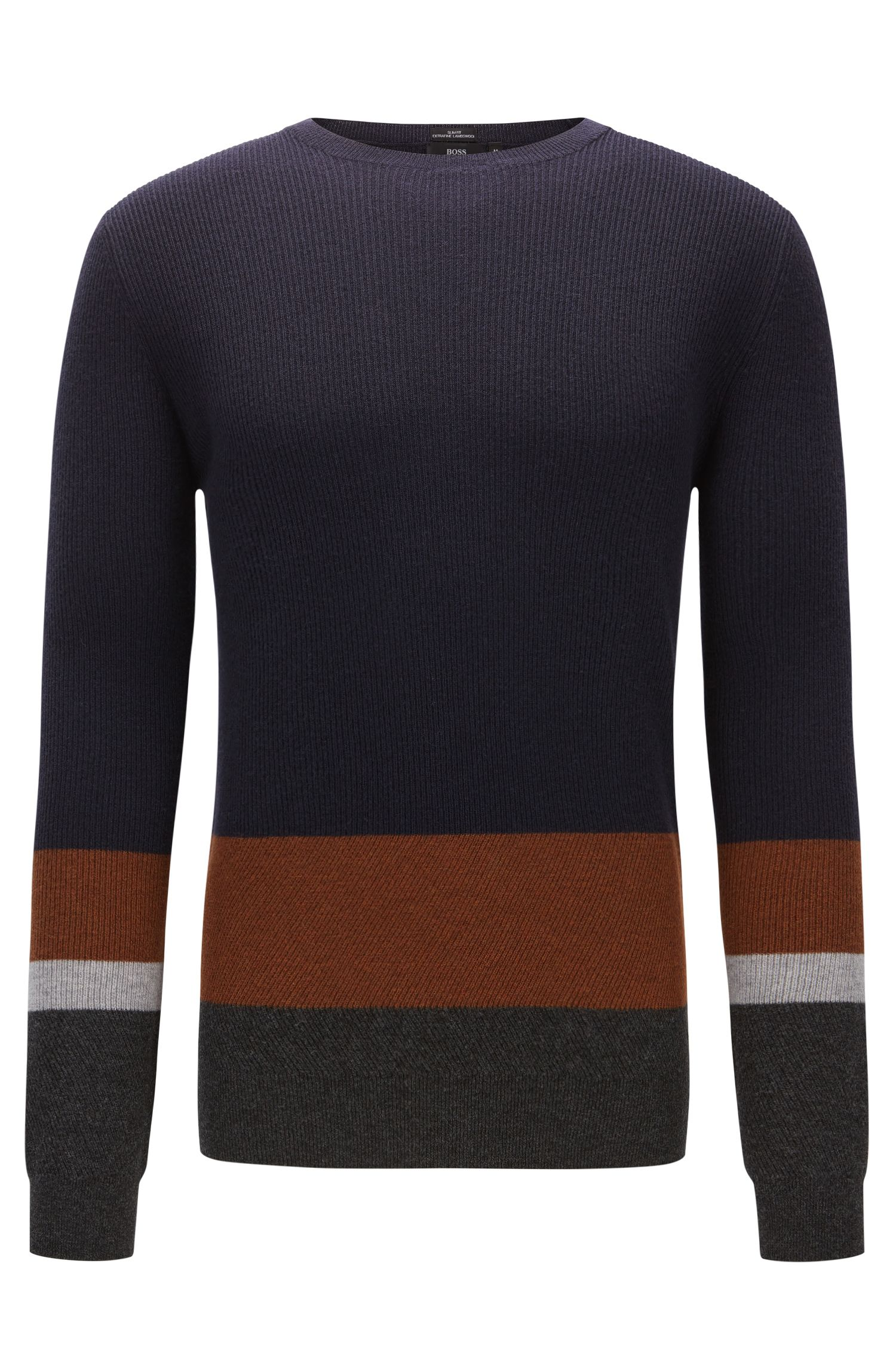 Slim-Fit Pullover aus gerippter Schurwolle im Colour Block Design