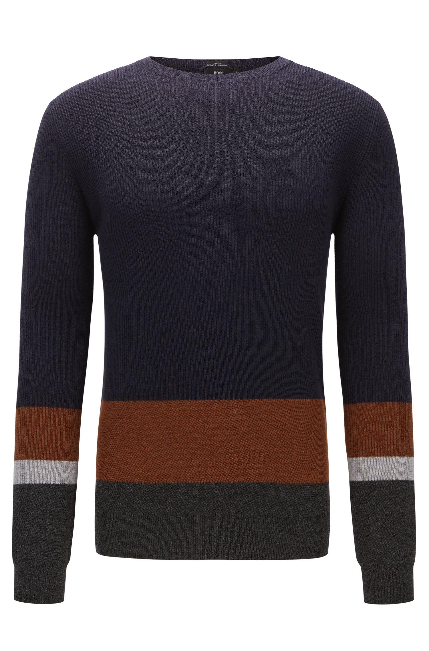 Geribde trui van scheerwol met colourblocking
