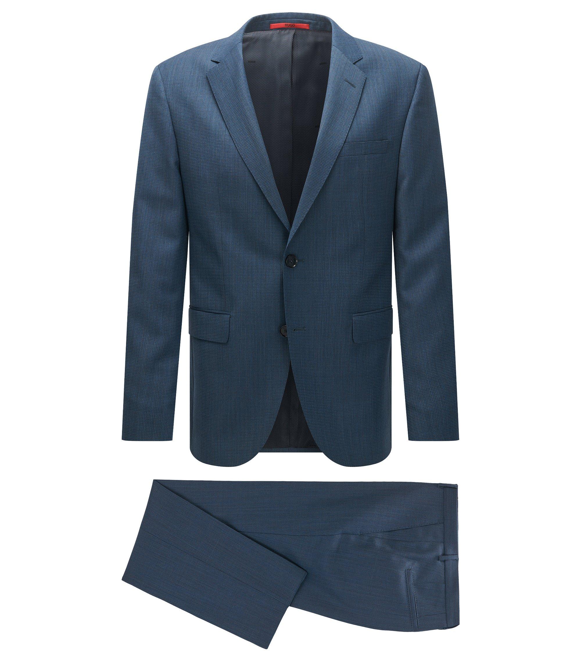 Regular-fit suit in a patterned virgin-wool blend, Dark Blue