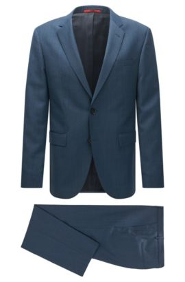 Regular-fit suit in a patterned virgin-wool blend, Dark Blue