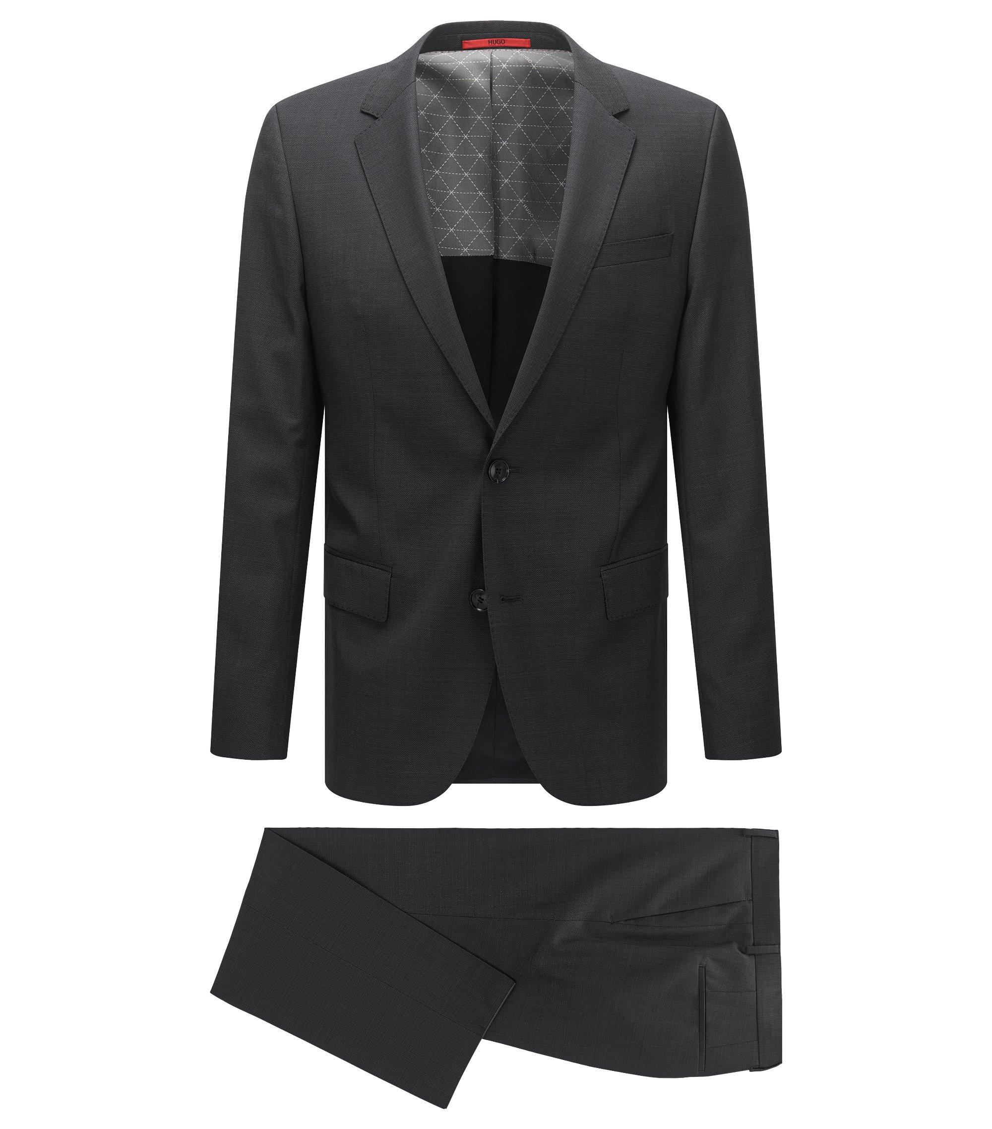 Fein gemusterter Slim-Fit Anzug aus Schurwoll-Mix, Schwarz