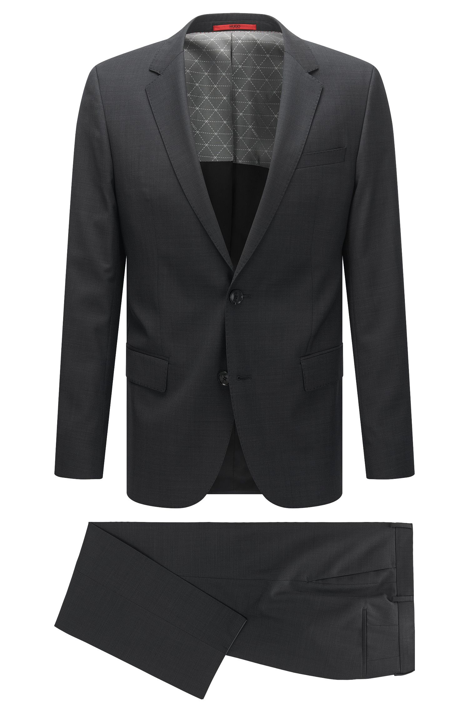 Slim-fit suit in a micro-patterned virgin-wool blend