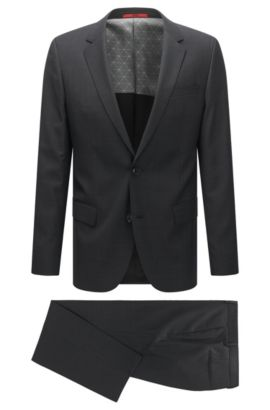 Slim-fit suit in a micro-patterned virgin-wool blend, Black