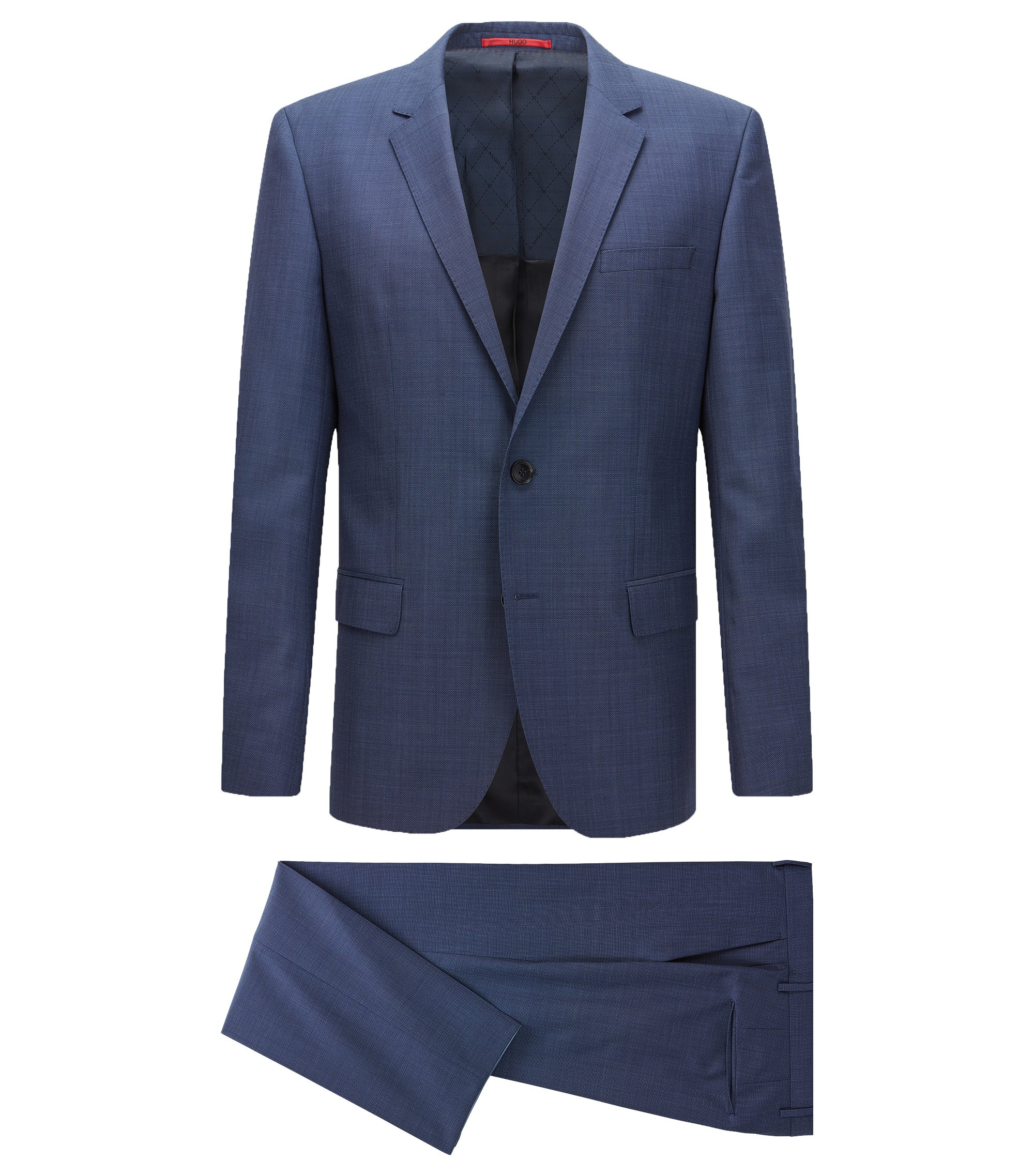 Slim-fit suit in a micro-patterned virgin-wool blend, Dark Blue