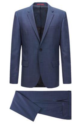 Slim-fit suit in a micro-patterned virgin-wool blend, Dark Blue