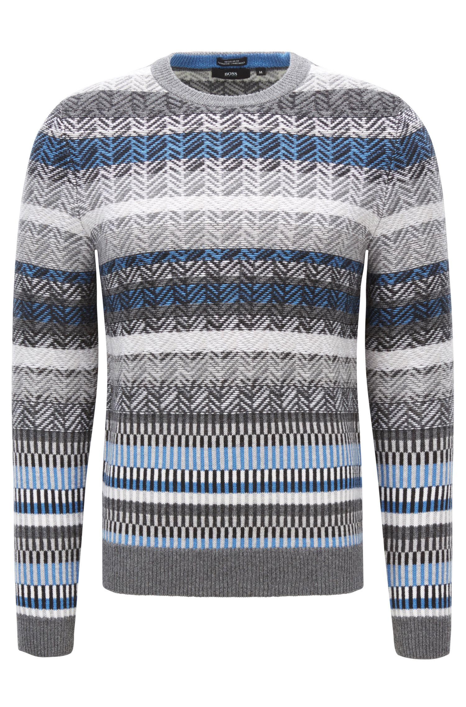 Regular-Fit Pullover aus Schurwolle mit Fair Isle Muster