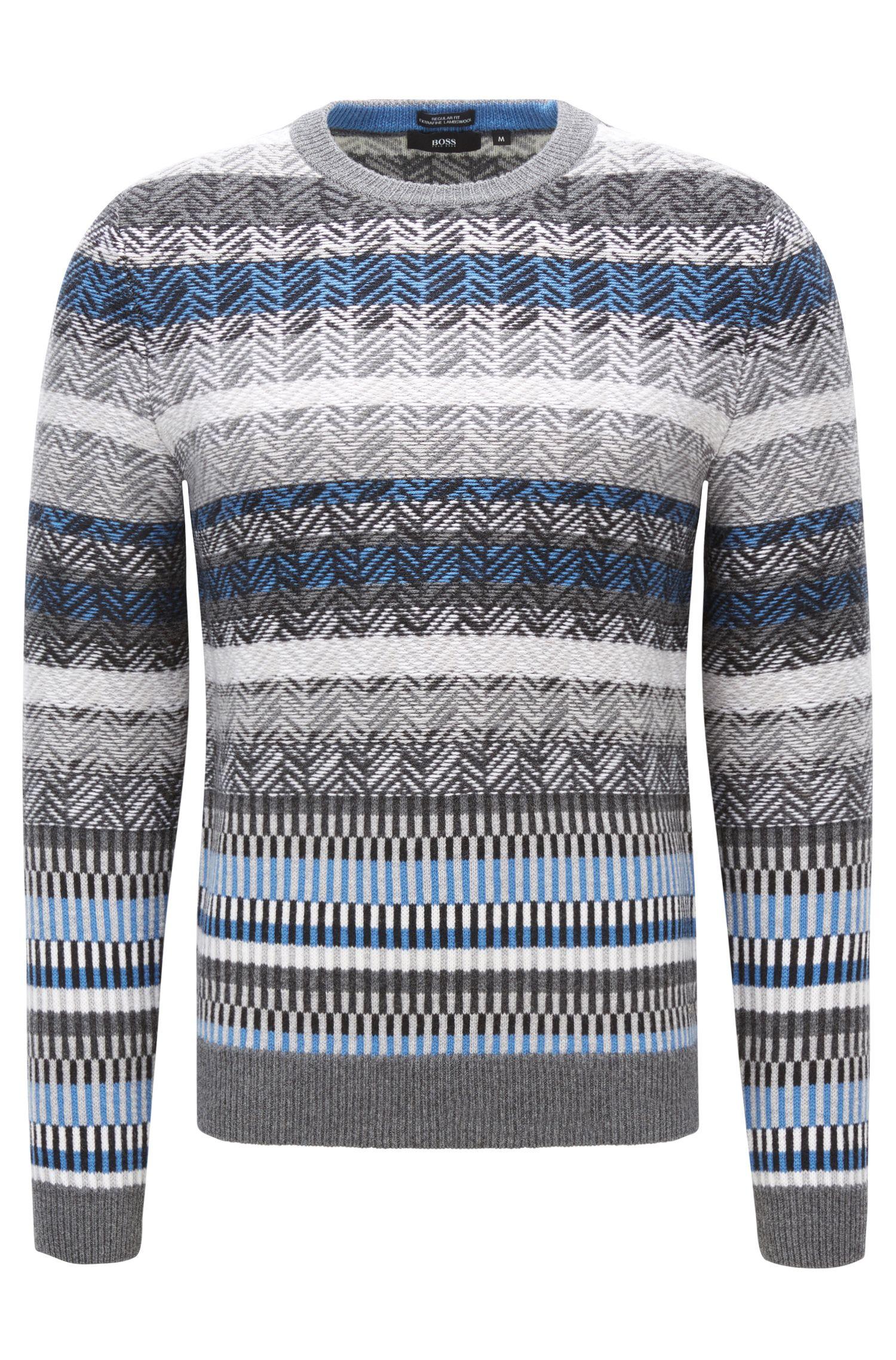Moderno maglione Fair Isle in lana vergine con lavorazione jacquard