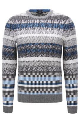 Moderno maglione Fair Isle in lana vergine con lavorazione jacquard, Grigio