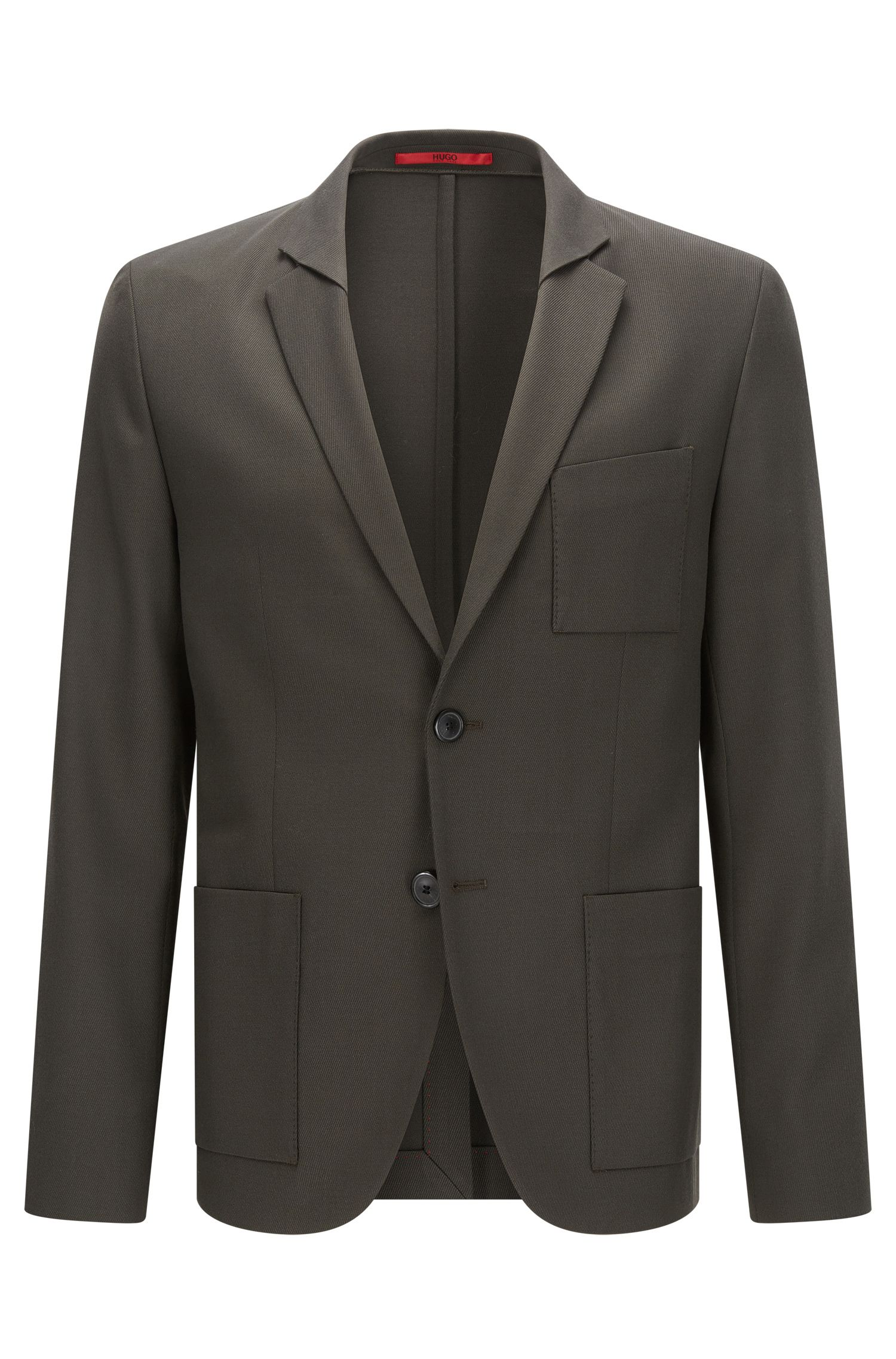 Extra-slim-fit jacket in a stretch wool-blend twill