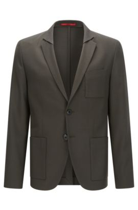 Extra-slim-fit jacket in a stretch wool-blend twill, Dark Green