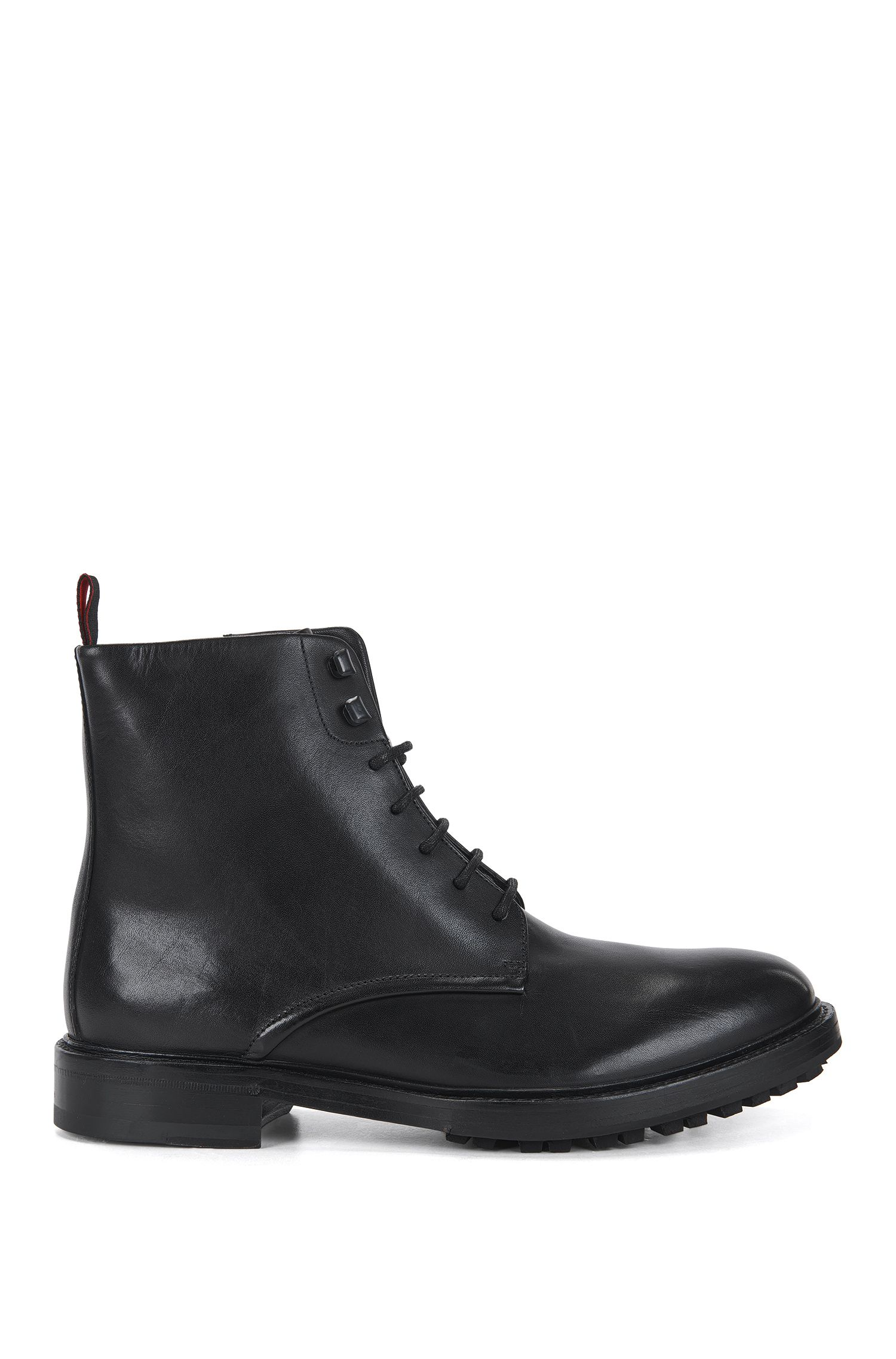 Lace-up boots in buffalo leather
