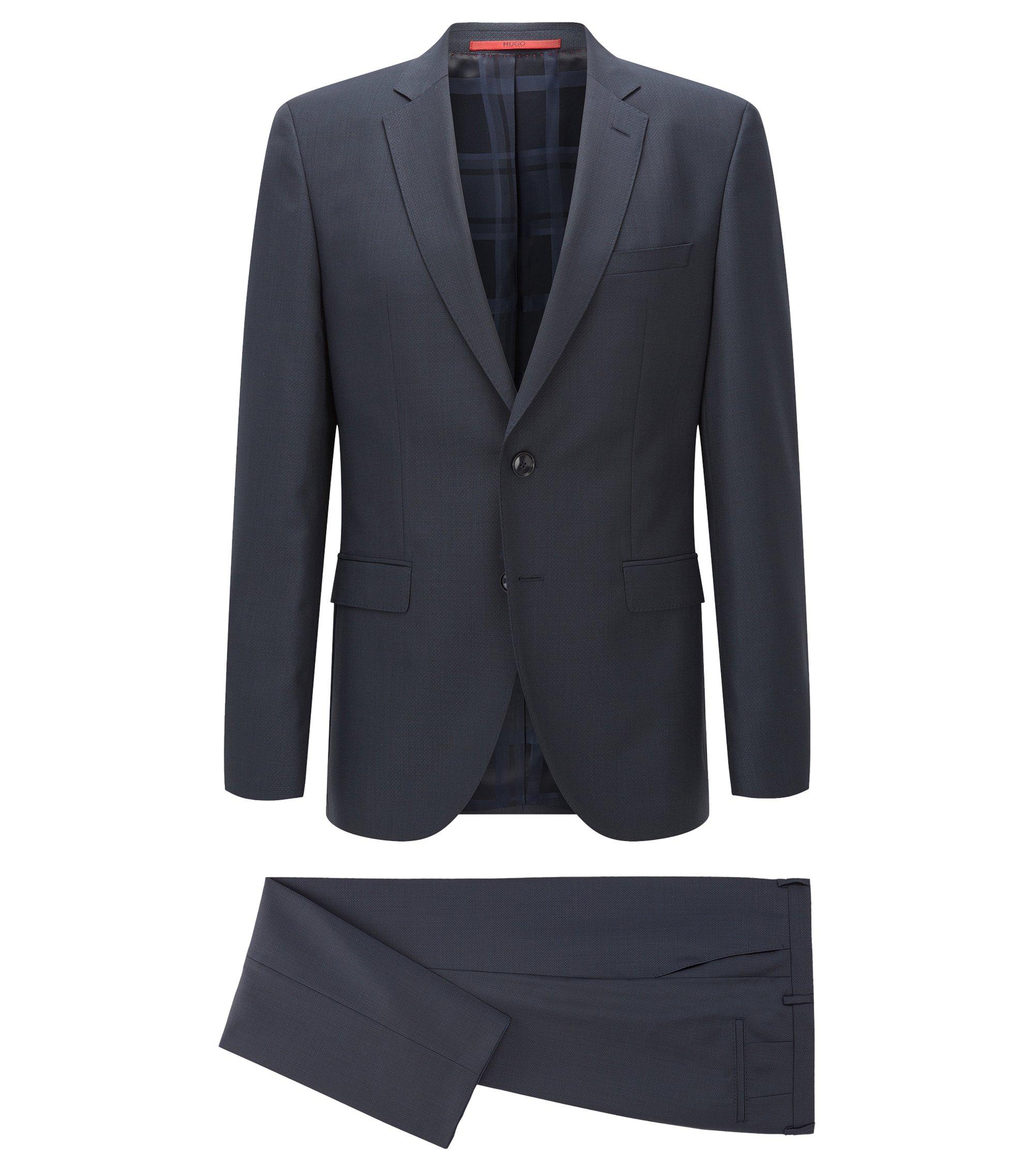 Melierter Regular-Fit Anzug aus einem strukturierten Schurwoll-Mix, Dunkelblau