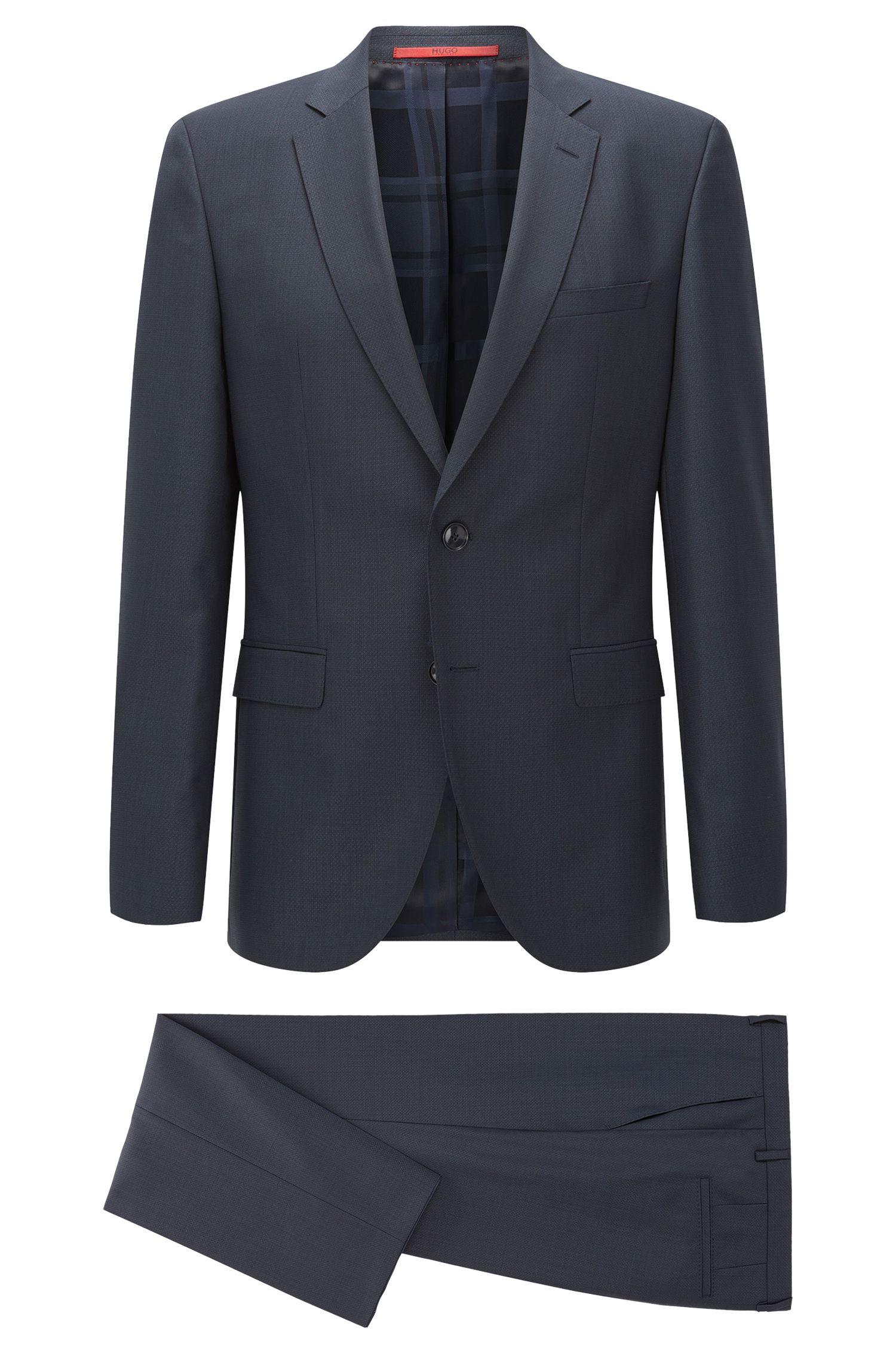 Regular-fit suit in a structured melange wool blend
