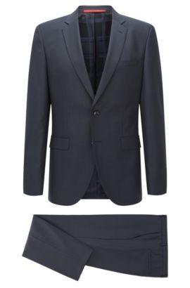 Regular-fit kostuum van een gestructureerde, gemêleerde wolmix, Donkerblauw