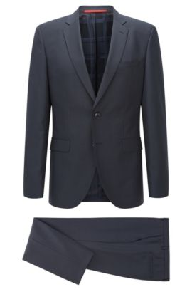 Regular-fit suit in a structured melange wool blend, Dark Blue