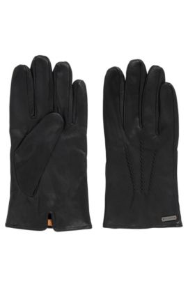 Vintage-style gloves in waxed leather, Black