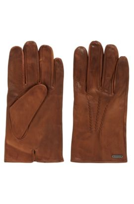 Vintage-style gloves in waxed leather, Brown