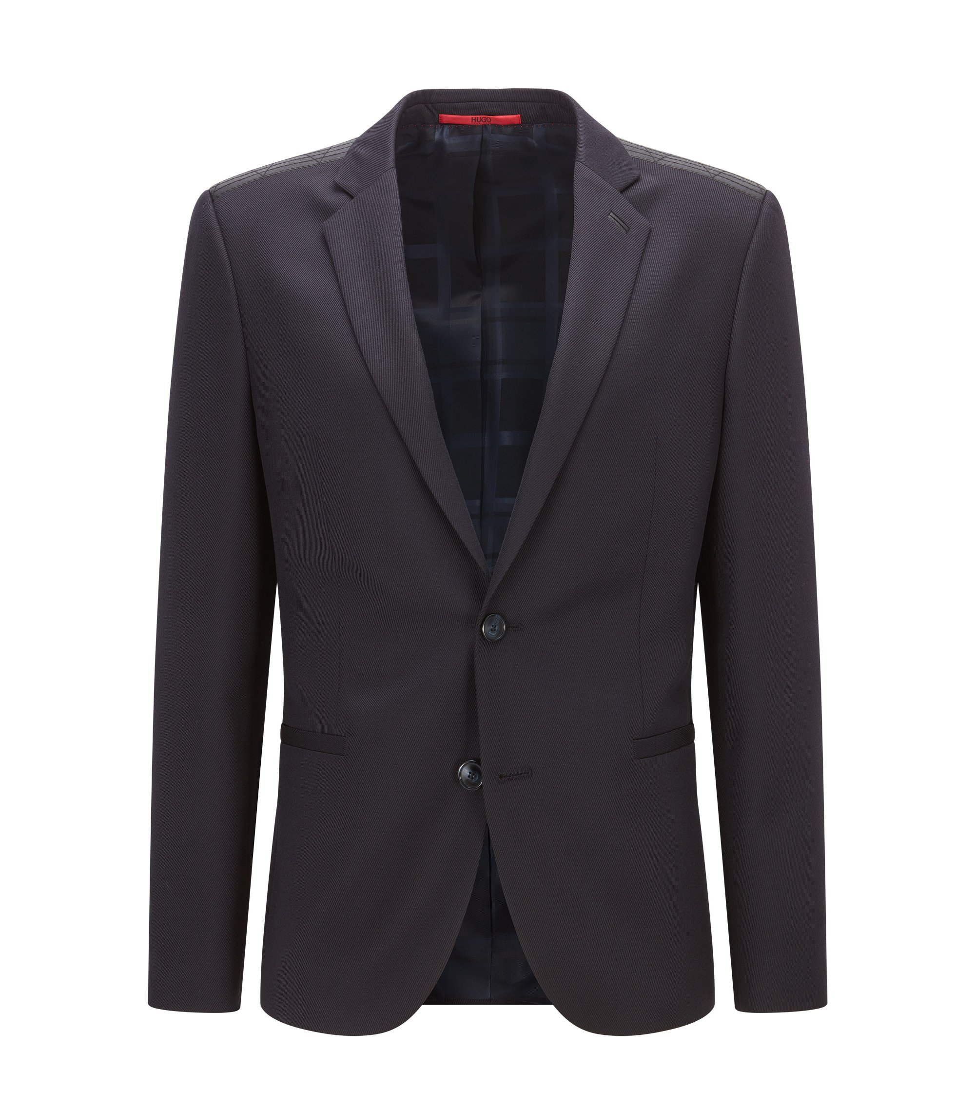 Giacca extra slim fit in lana vergine con guarnizione in pelle, Blu scuro