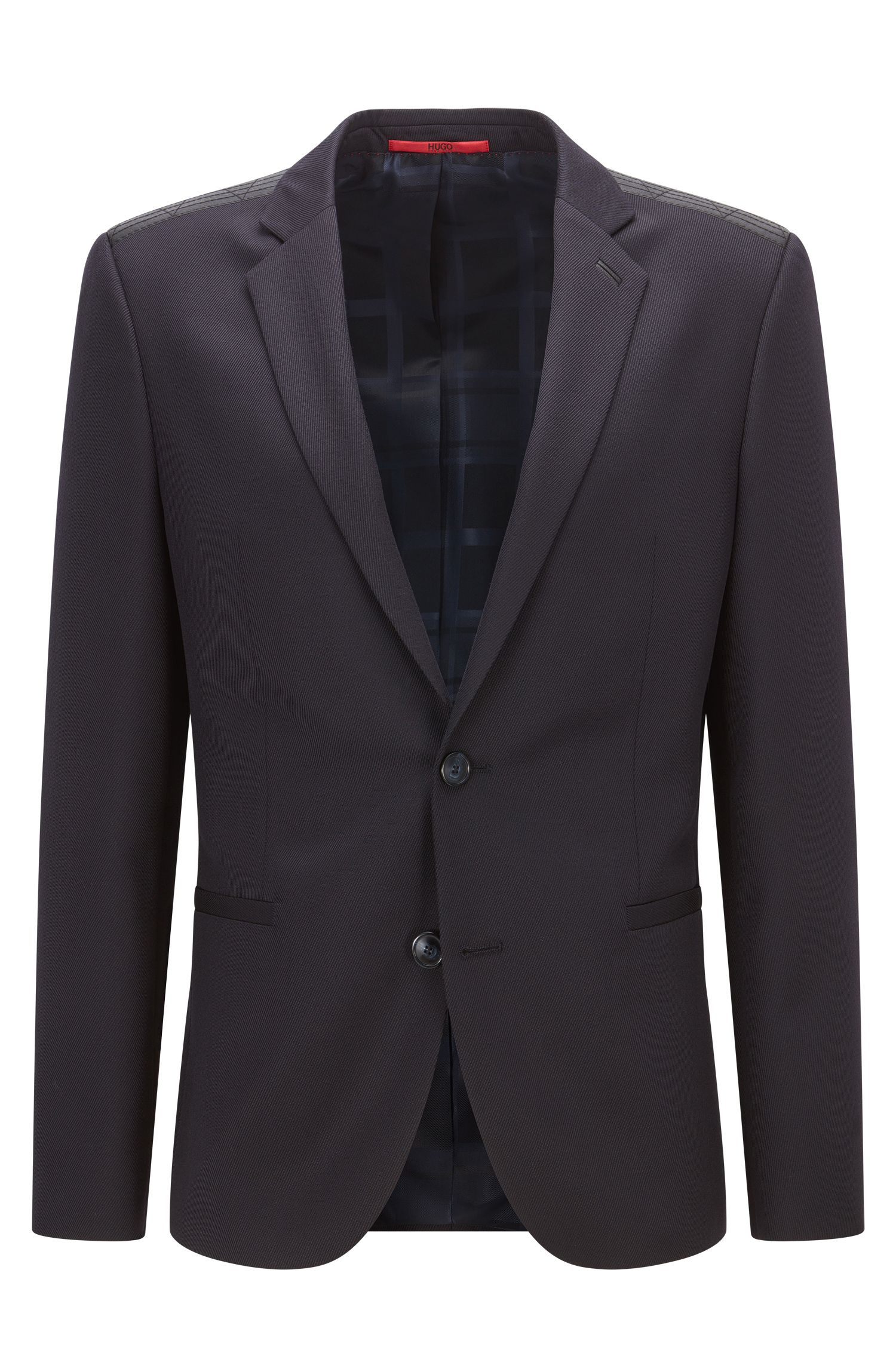 Extra-slim-fit virgin wool jacket with leather trim