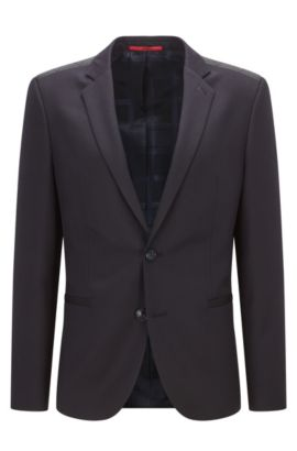 Extra-slim-fit virgin wool jacket with leather trim, Dark Blue
