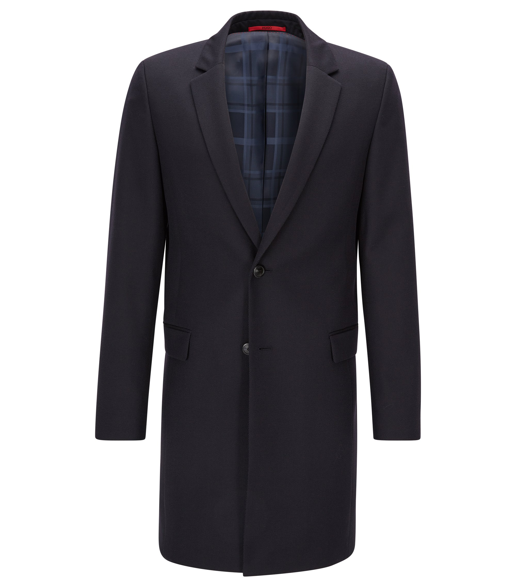 Giacca extra slim fit lunga in lana vergine con sottocollo in pelle, Blu scuro