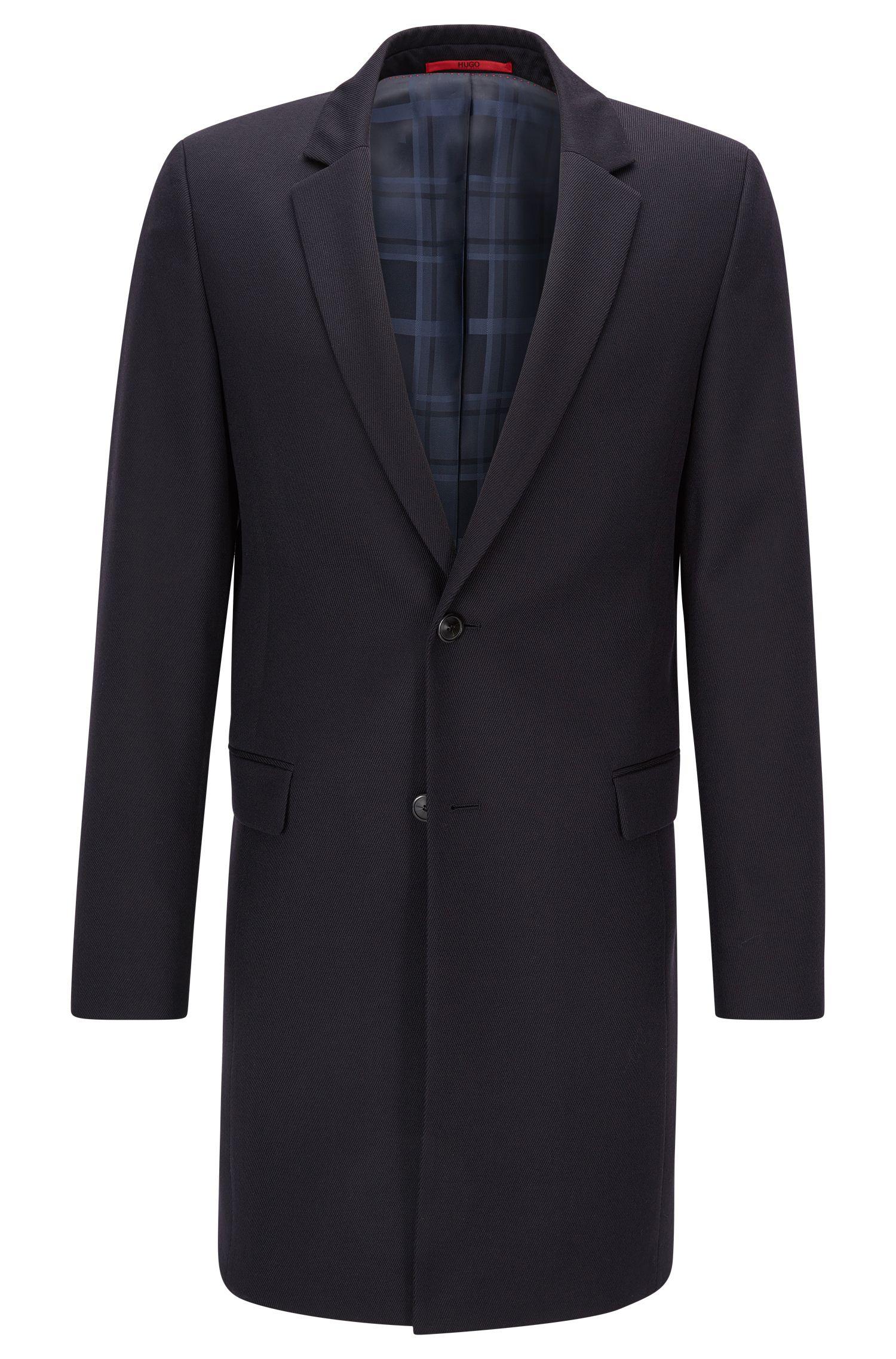 Longue veste Extra Slim Fit en laine vierge avec sous-col en cuir