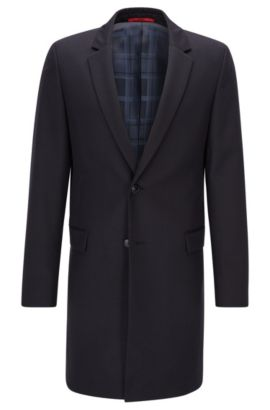 Extra-slim-fit long-length virgin wool jacket with leather undercollar, Dark Blue